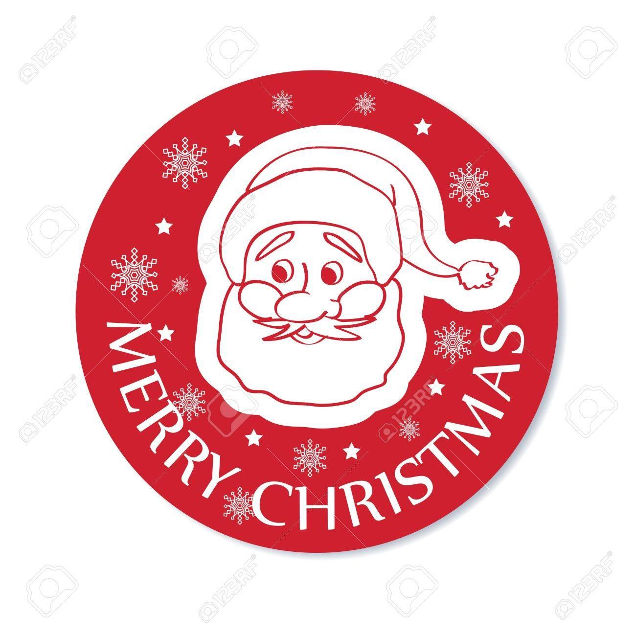 サンタの顔ベクトル イラスト ラウンド クリスマスのグリーティング