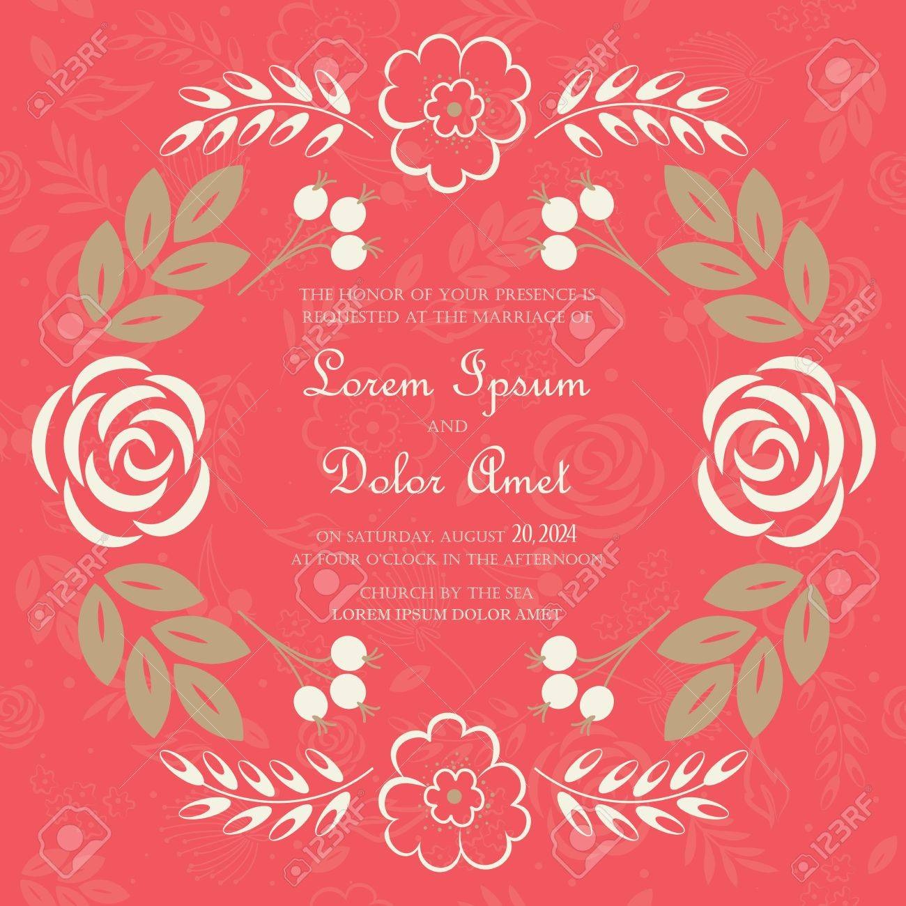 Wedding Invitation Or Announcement Card With Beautiful Floral ...