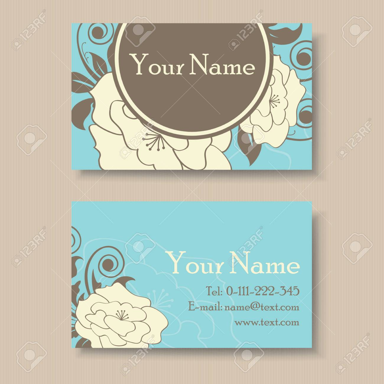 Beautiful Blue Floral Business Card Template Royalty Free Cliparts ...