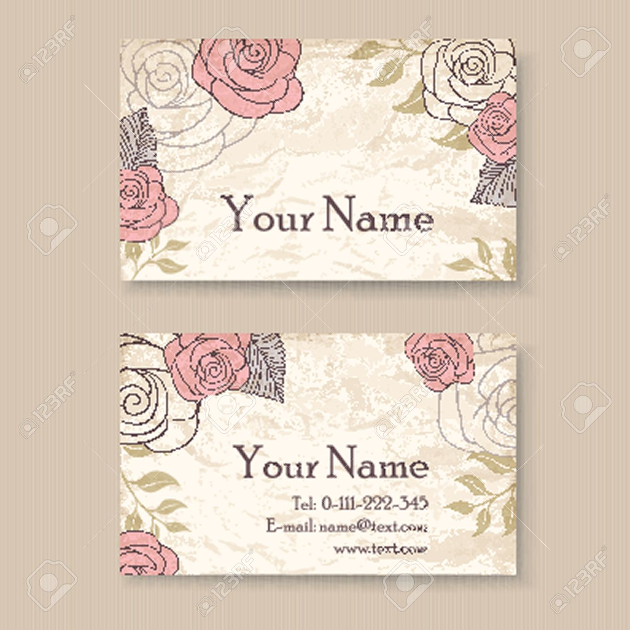 Vintage floral business card template with roses royalty free vector vintage floral business card template with roses wajeb Images