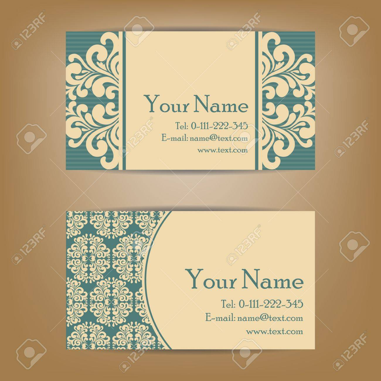 Set Of Vintage Business Cards, Invitations Or Announcements ...