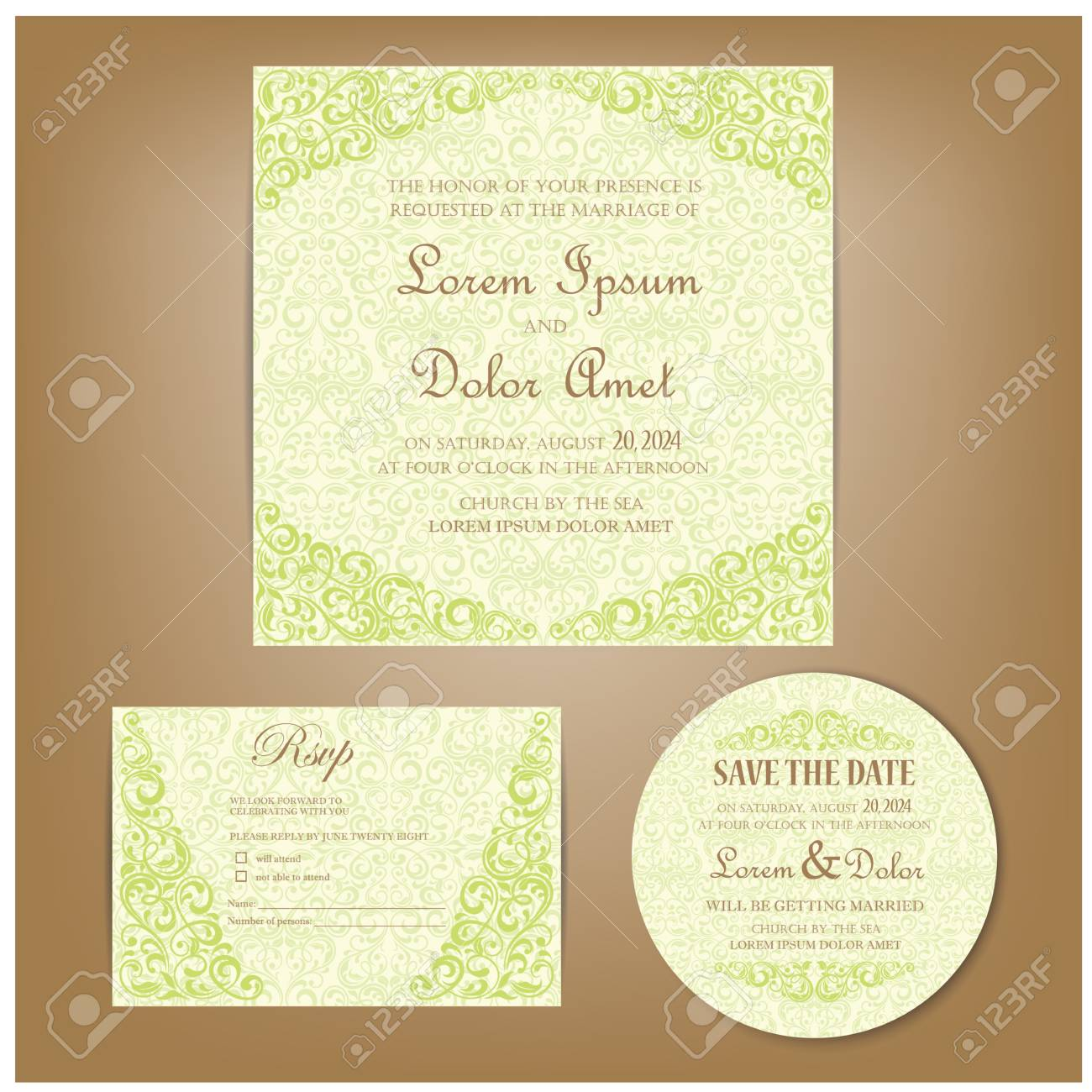 set of vintage wedding invitation cards or announcements invitation