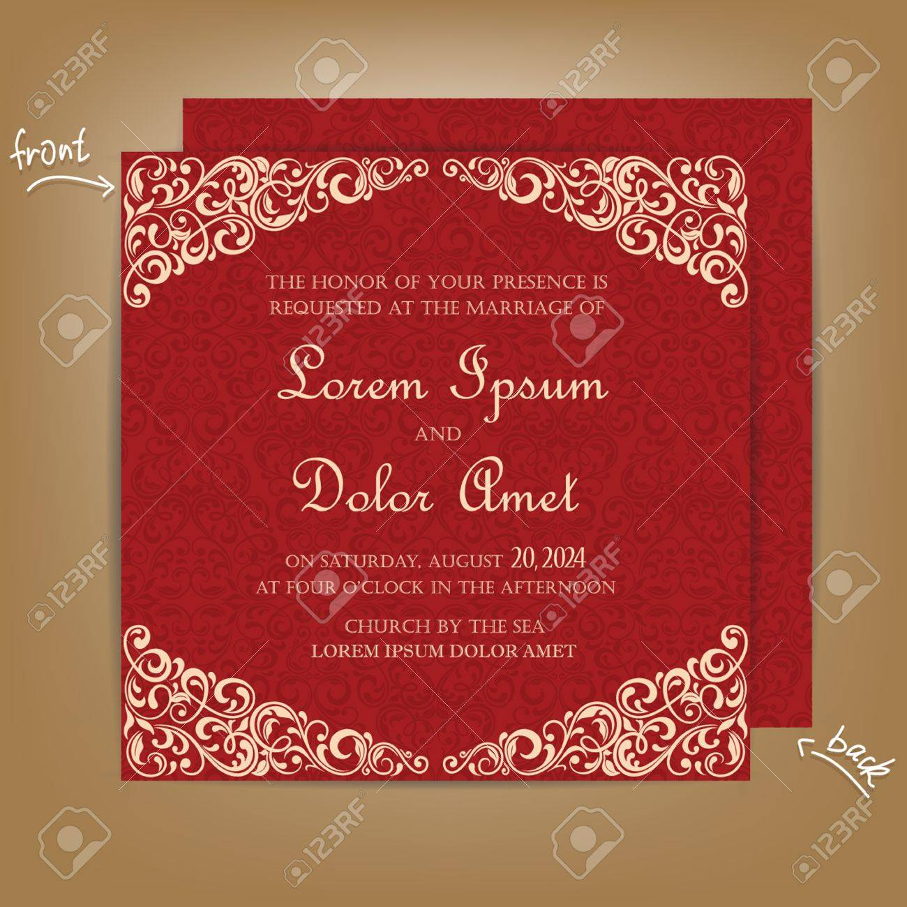 Red Vintage Wedding Invitation Card. Royalty Free Cliparts, Vectors ...