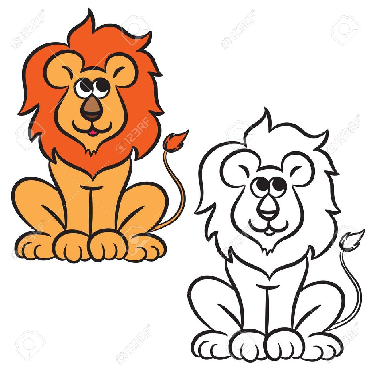 Cartoon Lion. Coloring Book. Vector Illustration. Royalty Free ...