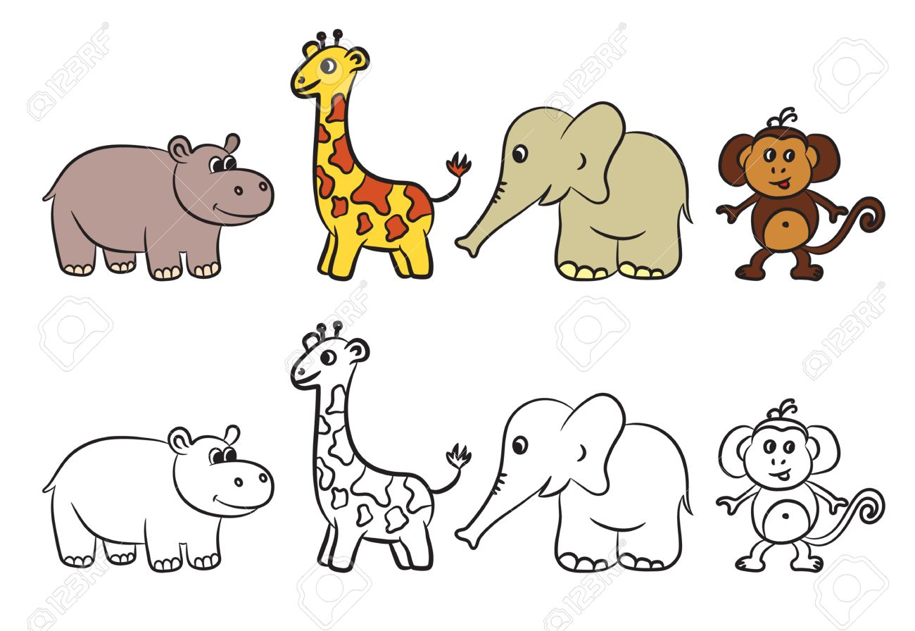 Cute Zoo Animals Collection. Coloring Book. Vector Illustration ...