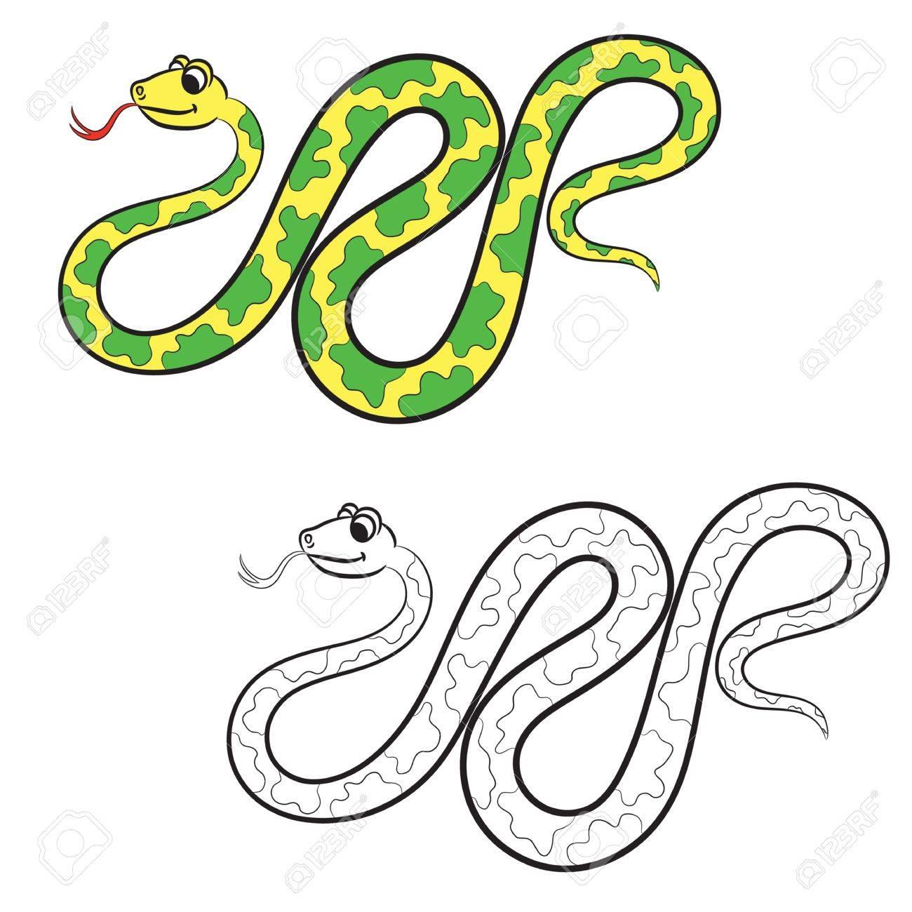 Ilustración De La Serpiente. Libro Para Colorear. Ilustraciones ...