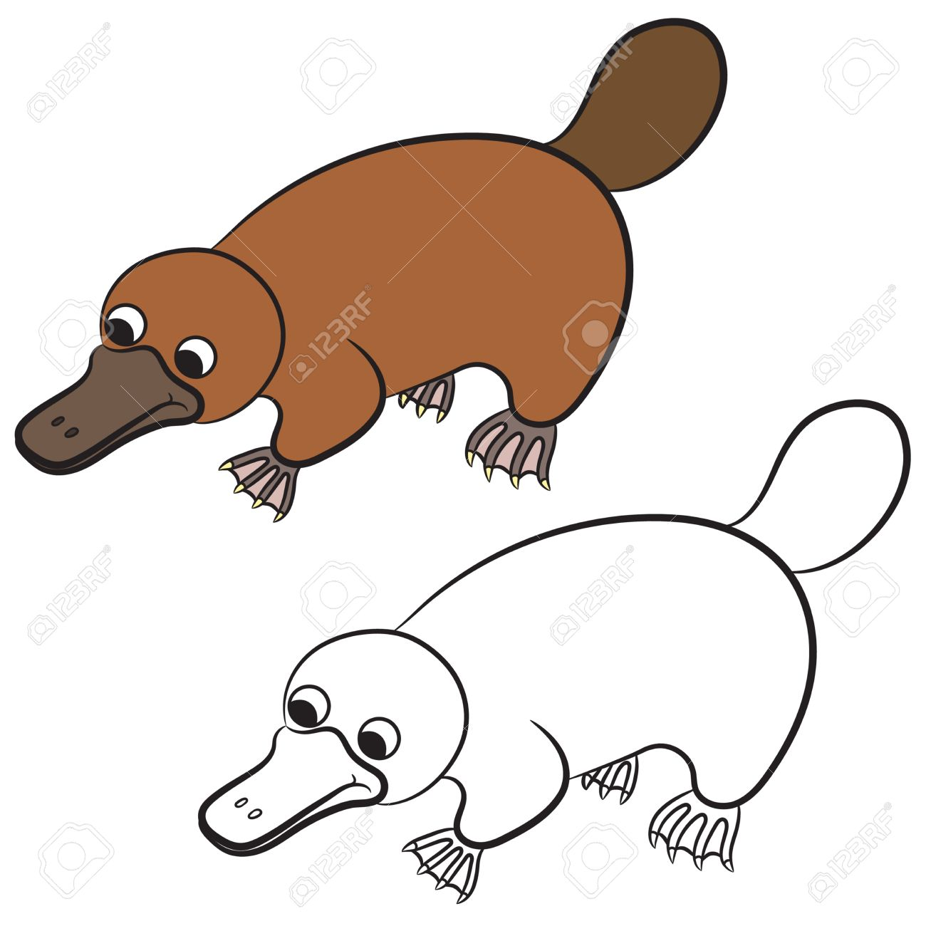 Ilustración De Dibujos Animados De Ornitorrinco O Animal Pico De ...