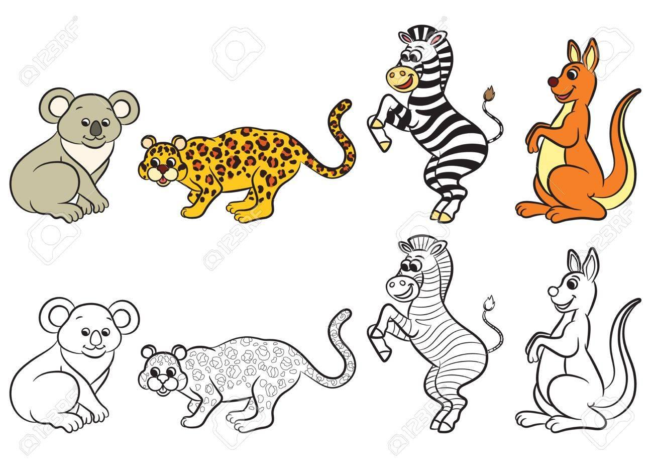 Colección Linda De Los Animales Del Zoológico. Libro Para Colorear ...