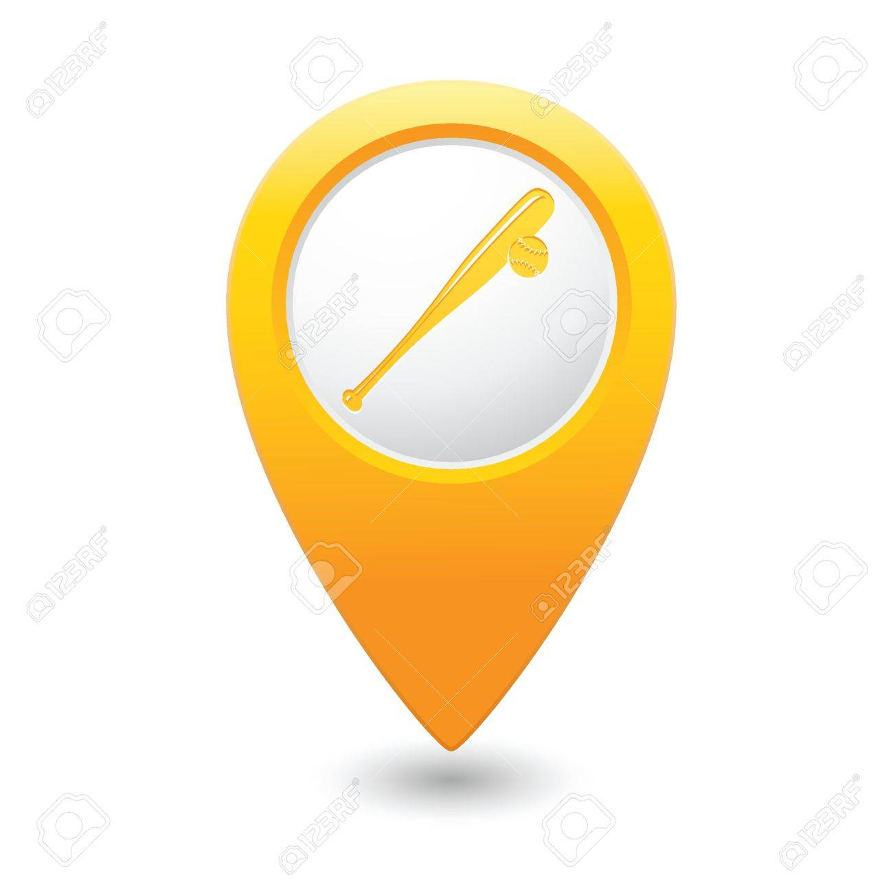 yellow map pointer with baseball icon royalty free cliparts