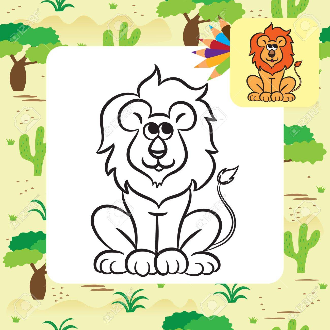 Cartoon Lion Coloring Page Vector Illustration Royalty Free