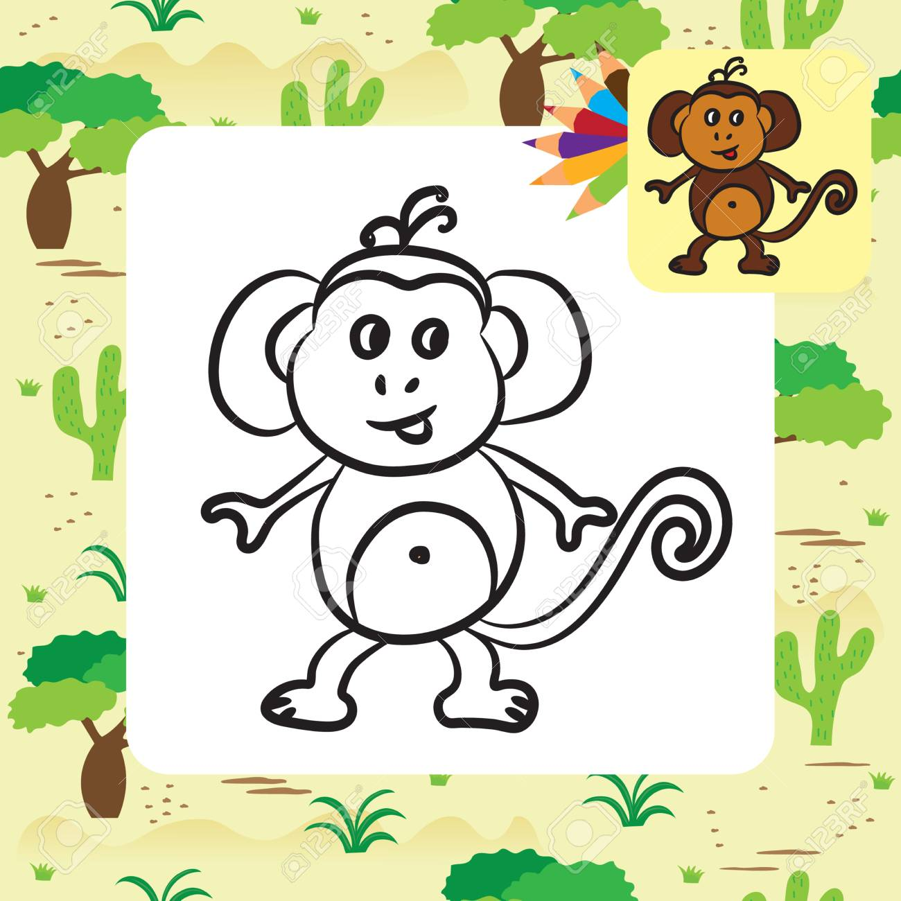 Cute Cartoon Monkey Coloring Page Vector Illustration Royalty Free Cliparts Vectors And Stock Illustration Image 44079606
