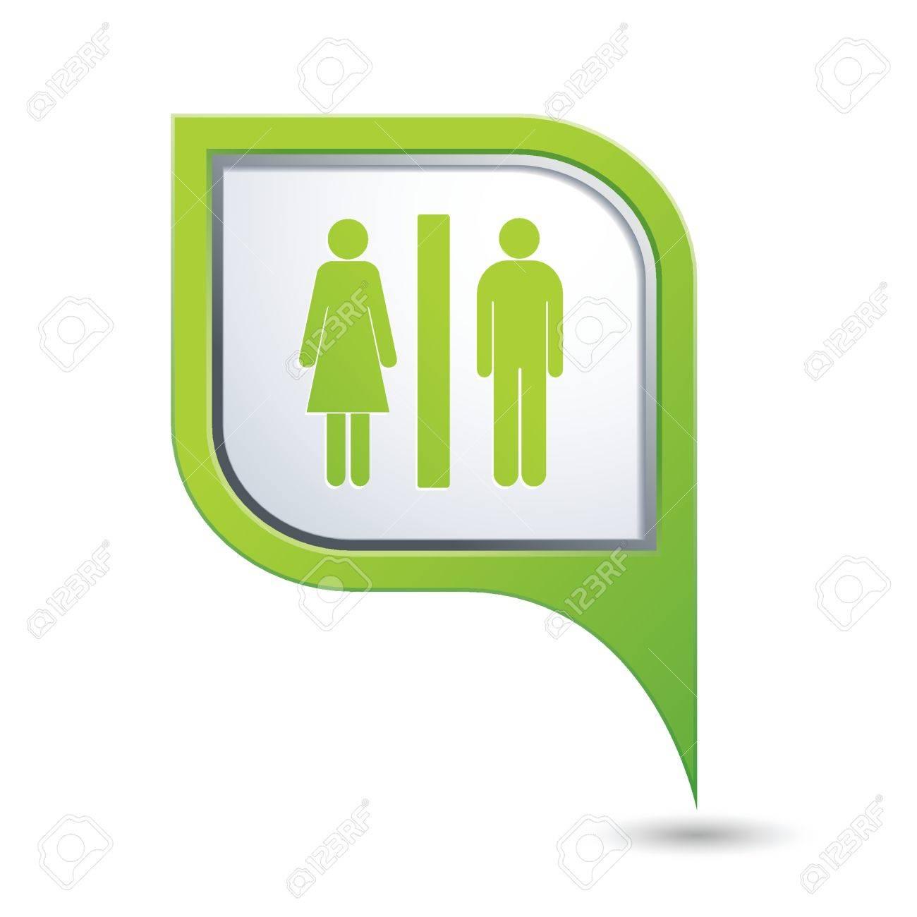 groene kaart pointer met man en vrouw icoon. toilet, badkamer, Badkamer