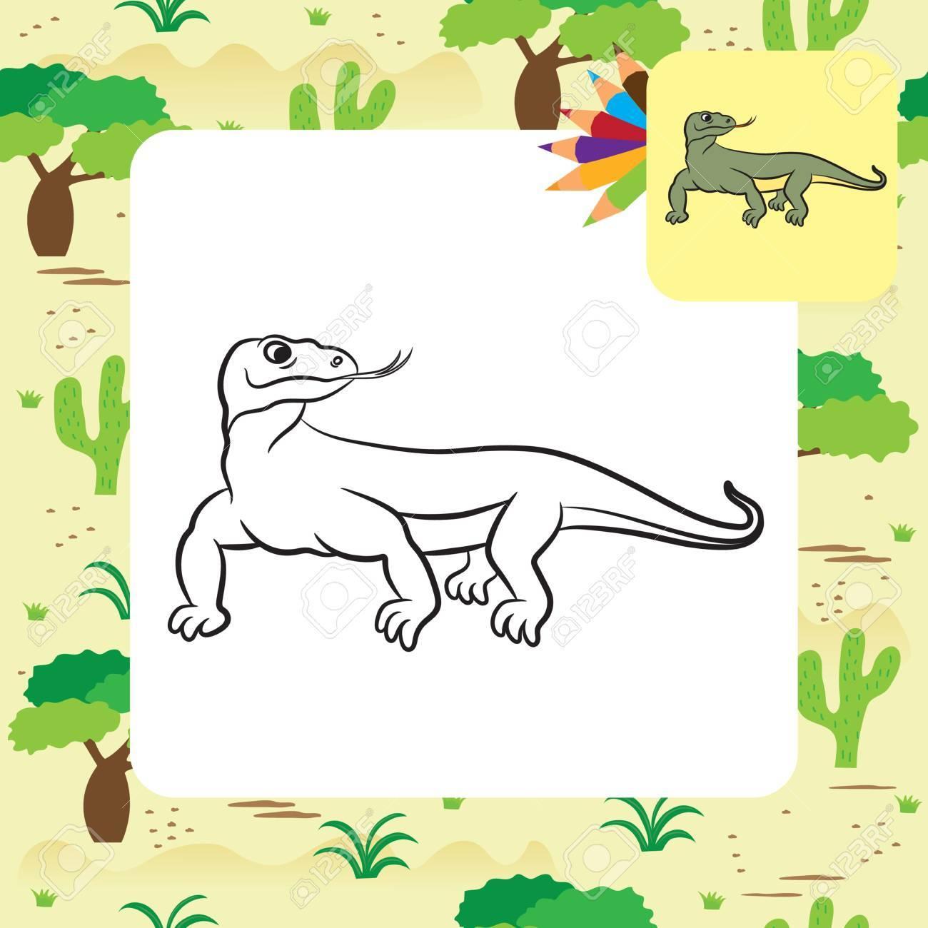 Ilustración De Varan Dragón De Komodo. Libro De Colorear ...