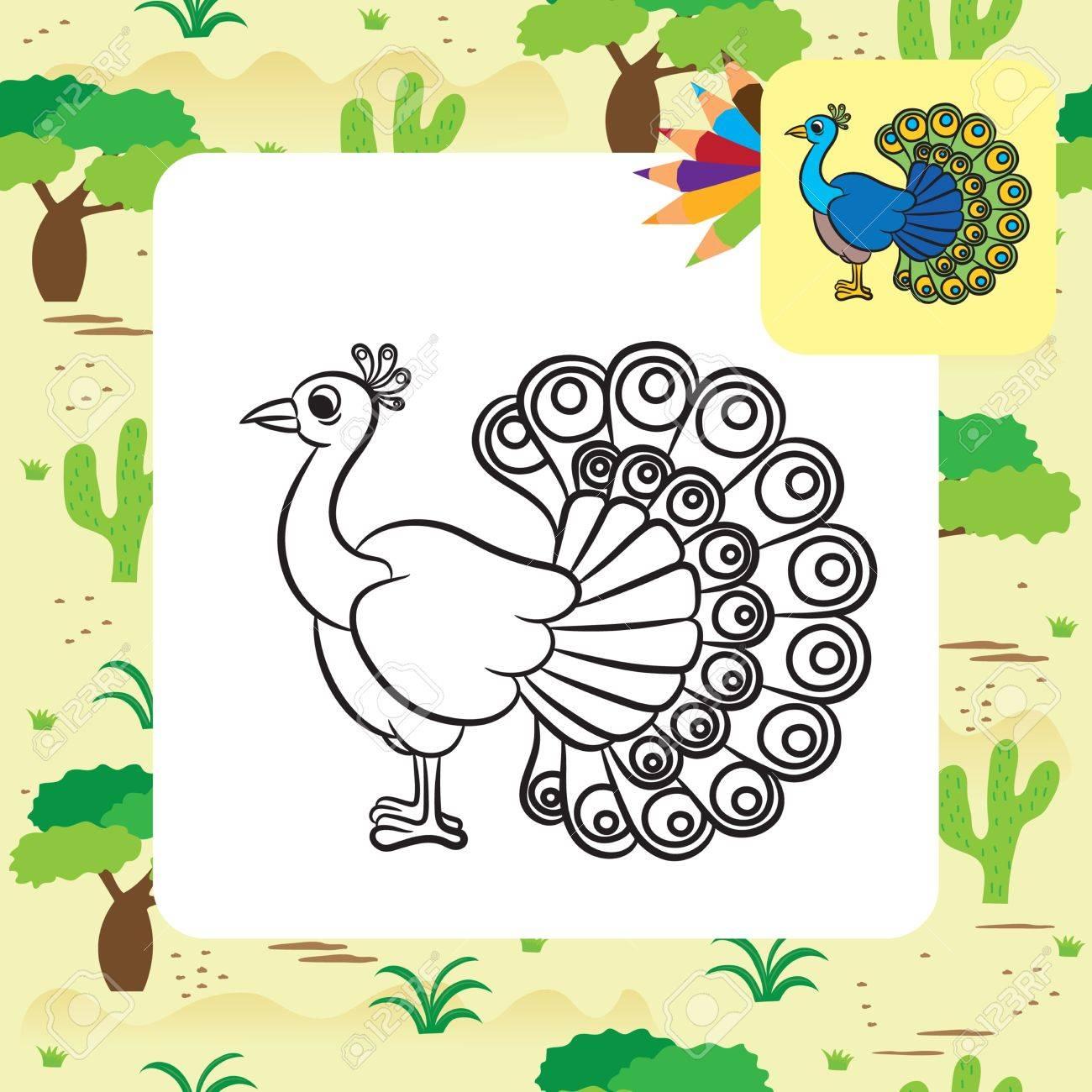 Ilustración Del Pájaro Del Pavo Real. Dibujo Para Colorear ...