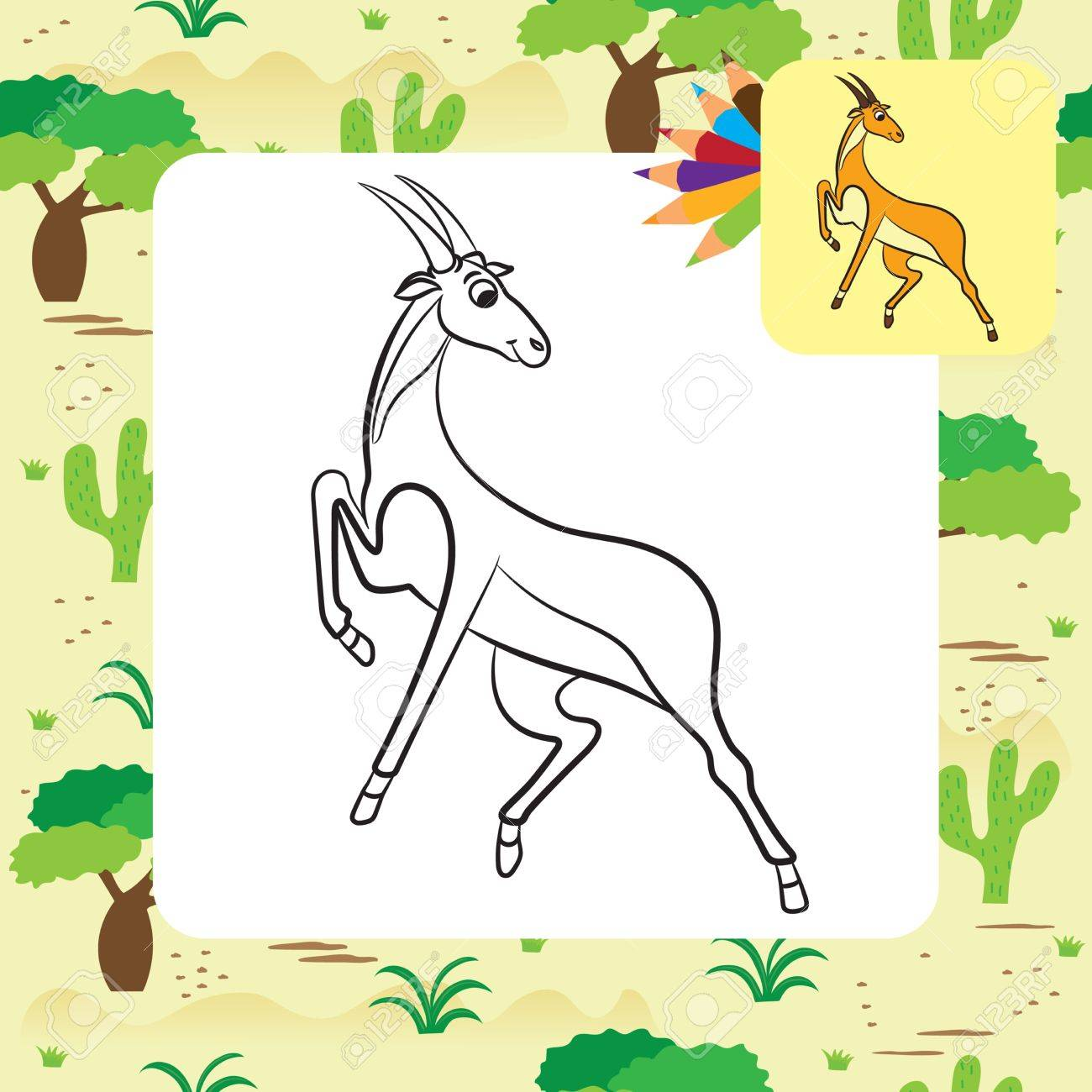 Illustration Of Cute Antelope. Coloring Page. Stock Vector   44082524