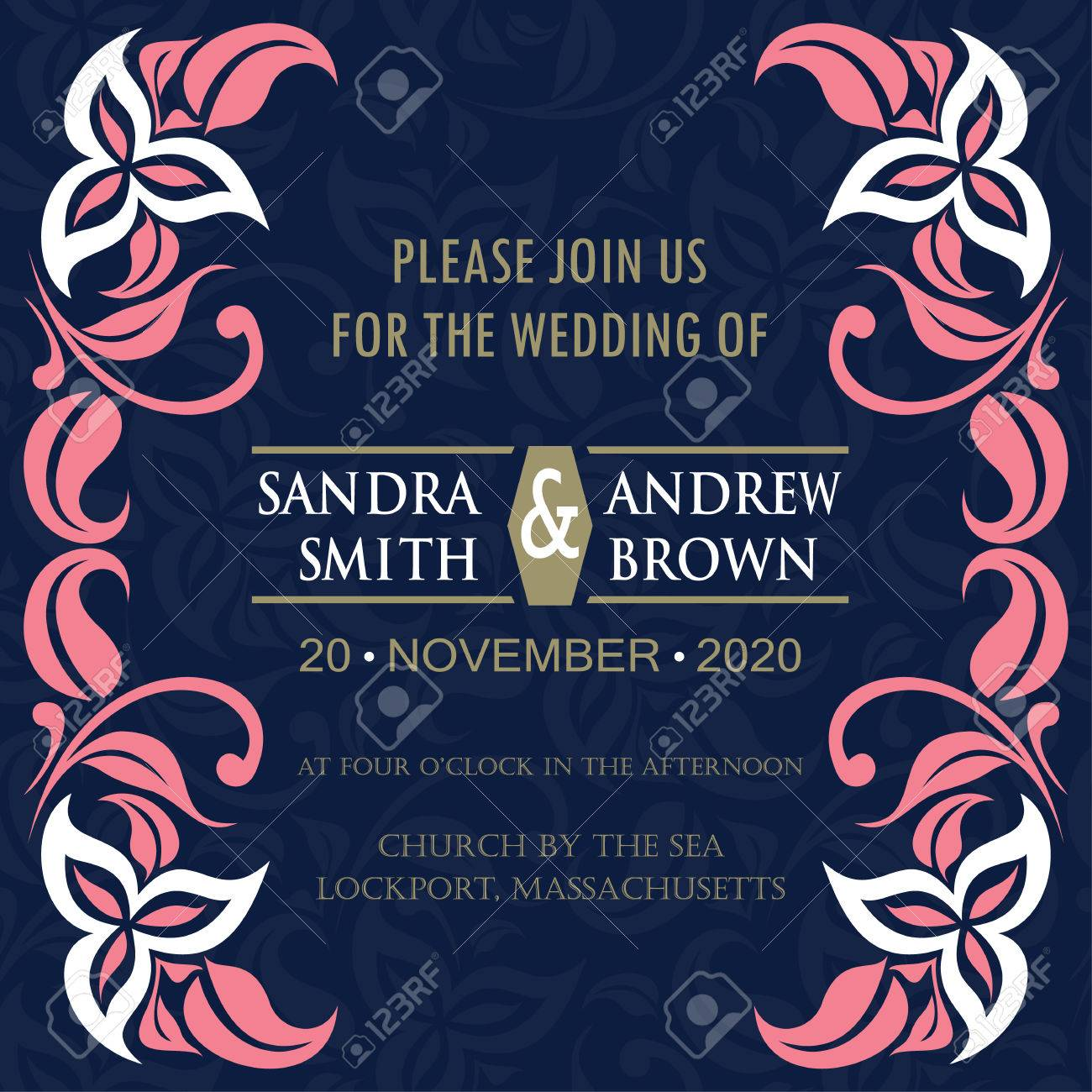Navy And Coral Wedding.Navy And Coral Wedding Invitation Card