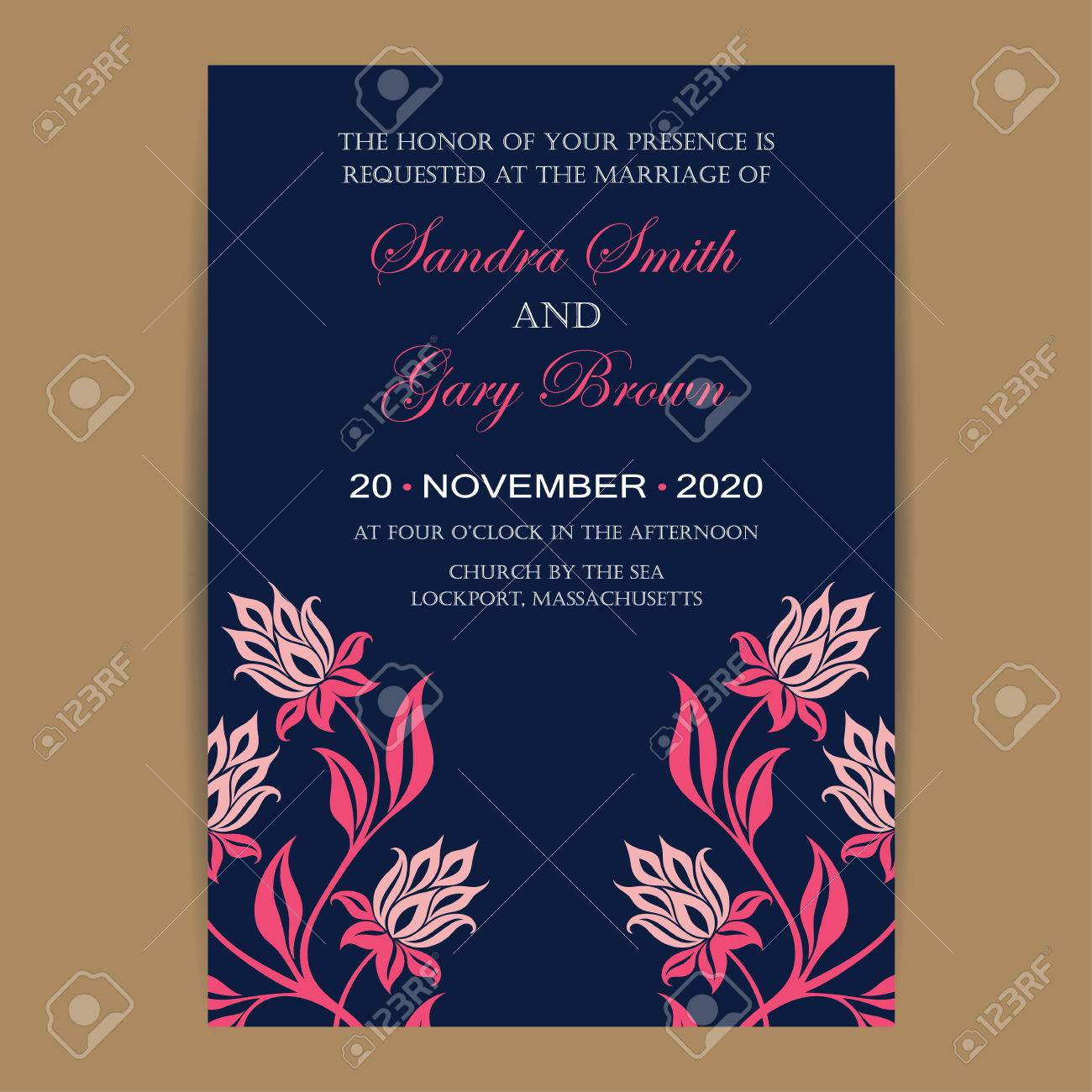 Navy And Coral Wedding Invitation Card Royalty Free Cliparts