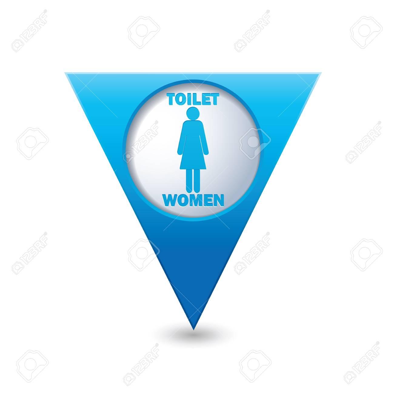 Indicadores Banos.El Indicador Azul Del Mapa Triangular Con Los Iconos De Los Banos Senora Wc Icono