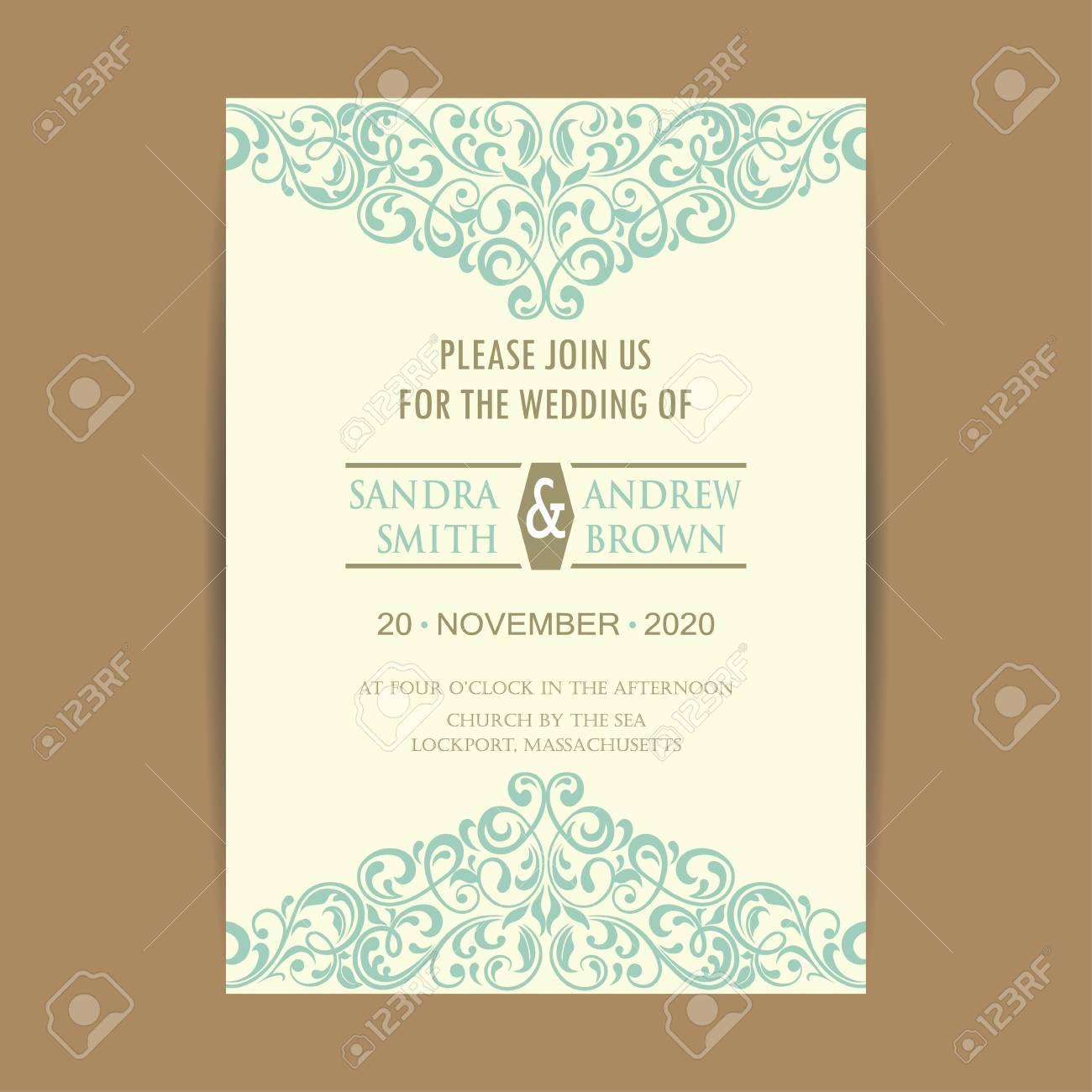 Schone Vintage Hochzeitseinladungskarte Lizenzfrei Nutzbare