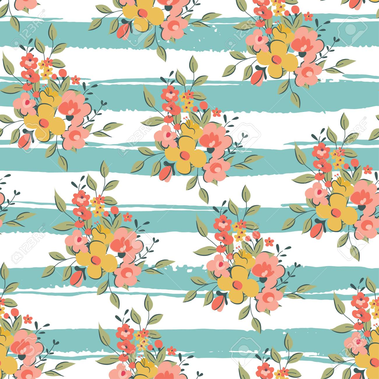 Seamless Vintage Floral Background Vector Illustration Royalty