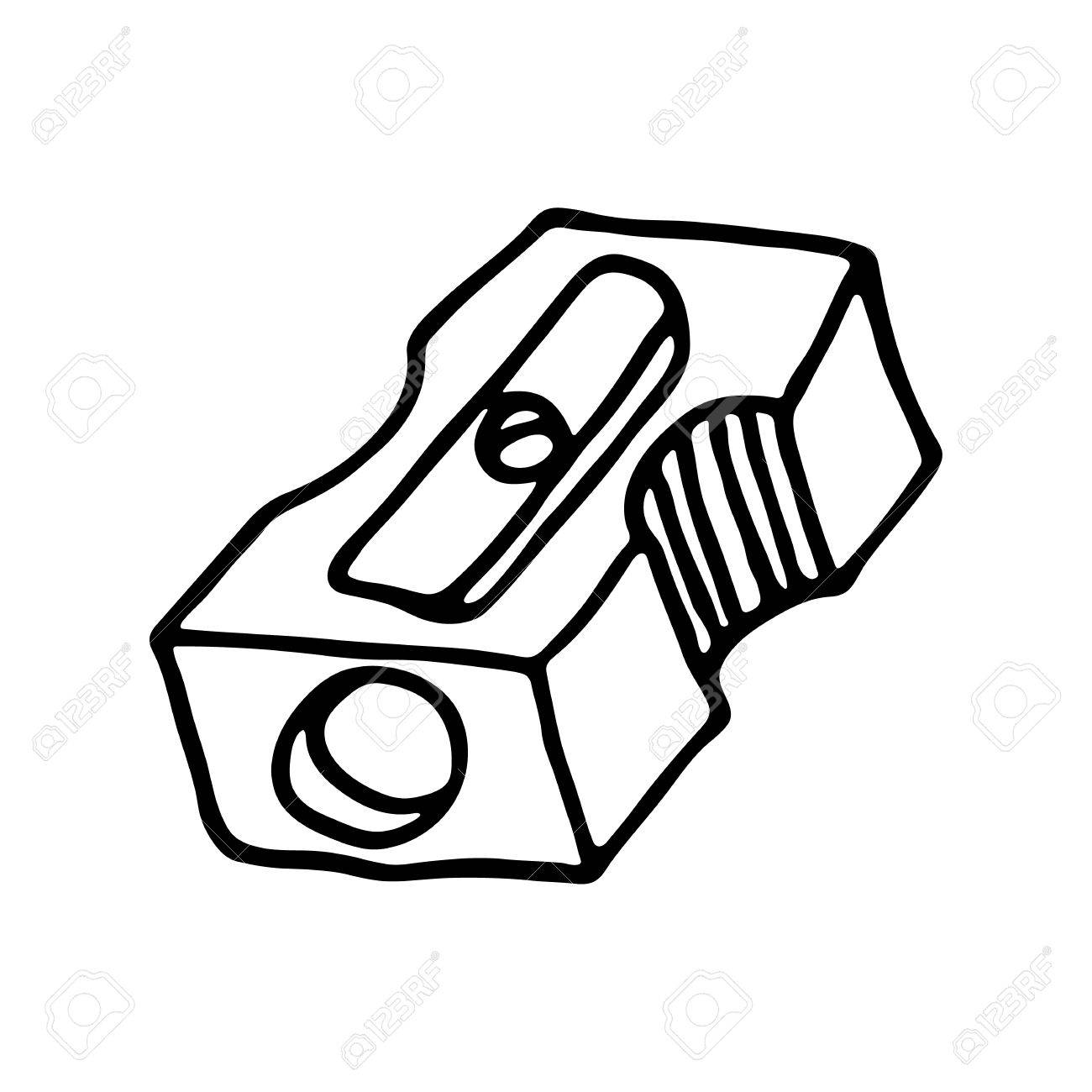 pencil sharpener icon. outlined on white background. royalty free