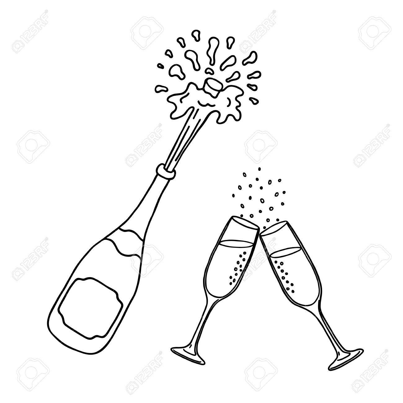 Bottle of champagne and champagne glasses - 63884891