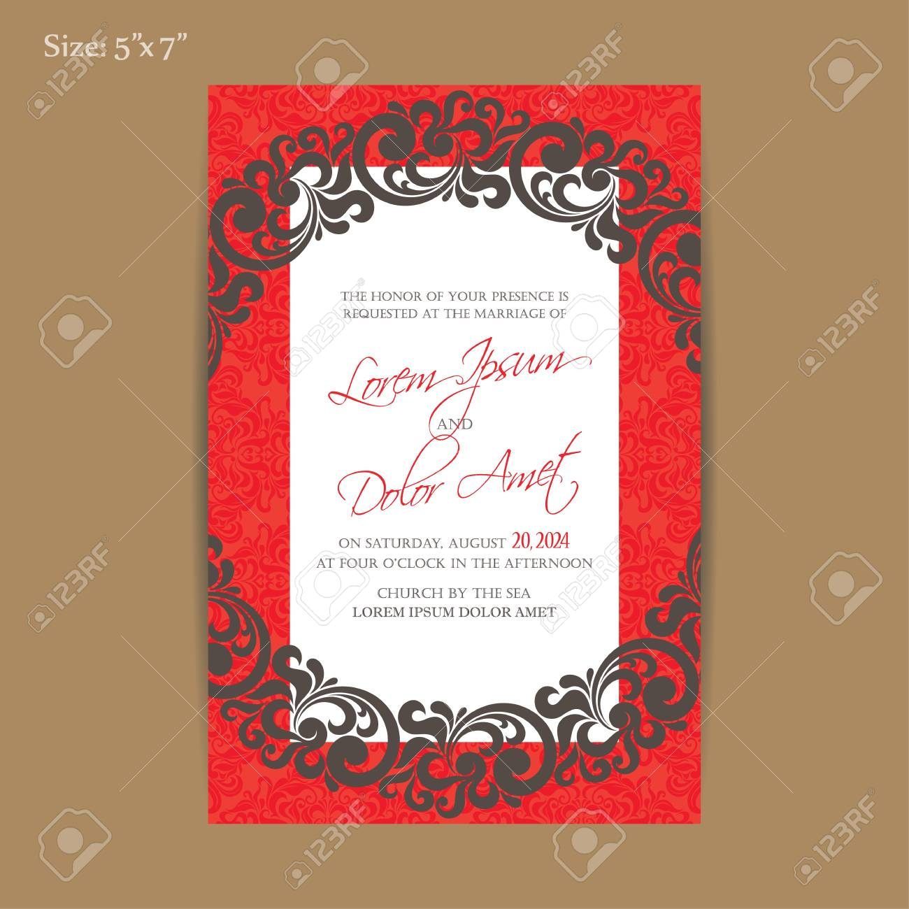 Luxury Vintage Wedding Invitation Card. Royalty Free Cliparts ...