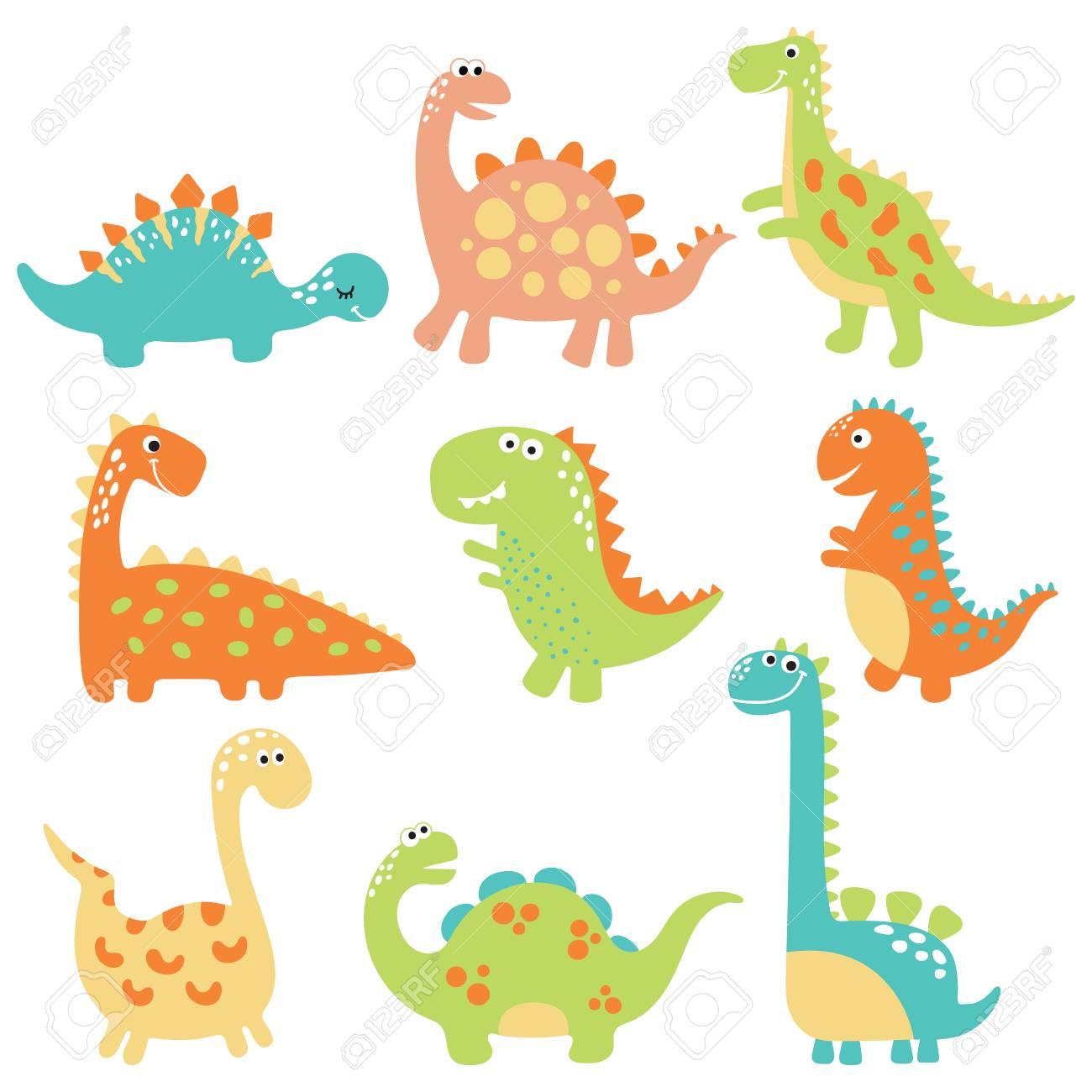 かわいい恐竜のイラストが背景白に設定しますのイラスト素材ベクタ