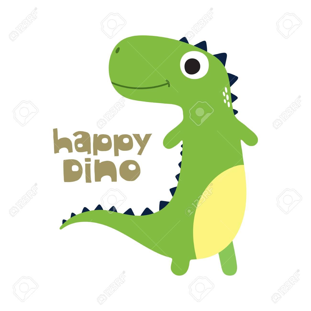 Clip Art Cute Cartoon Dino Vector Illustration Happy Dino Stock Vector 87052093 123rfcom Cute Cartoon Dino Vector Illustration Happy Dino Royalty Free