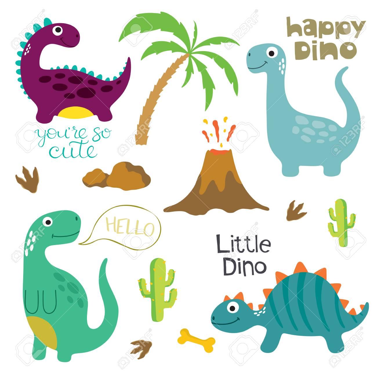 かわいい恐竜のイラストが背景白に設定します。 ロイヤリティフリー