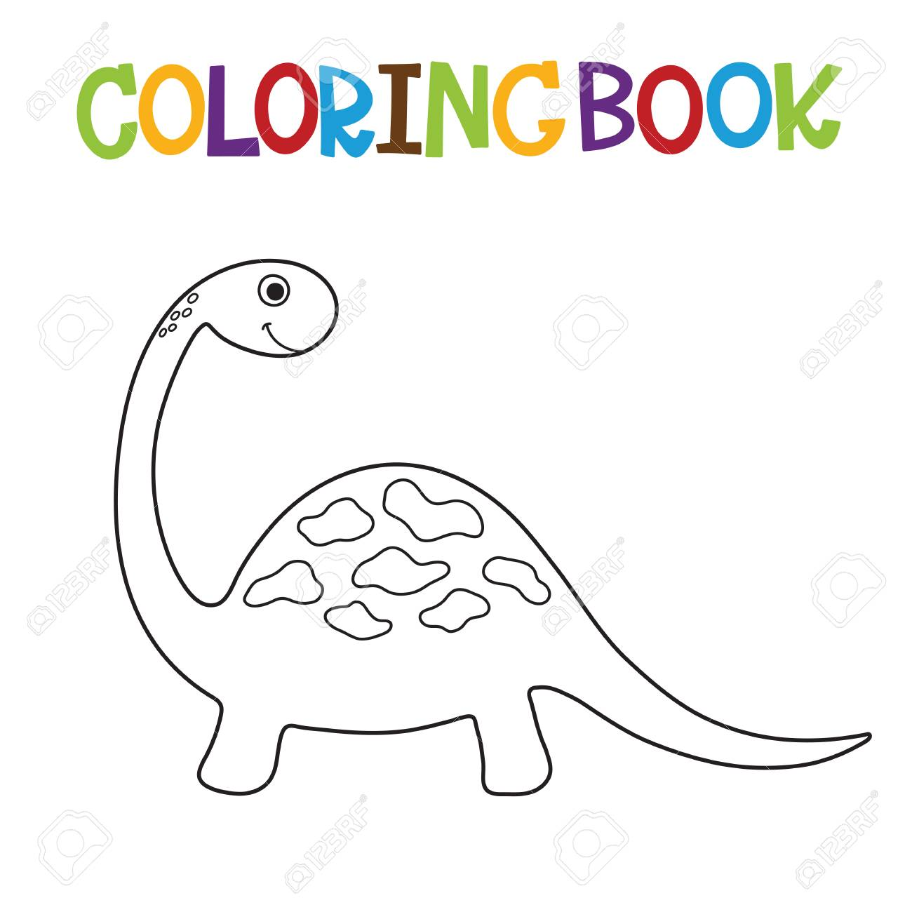 Cute Dino Coloring Book Vector Illustration Stock