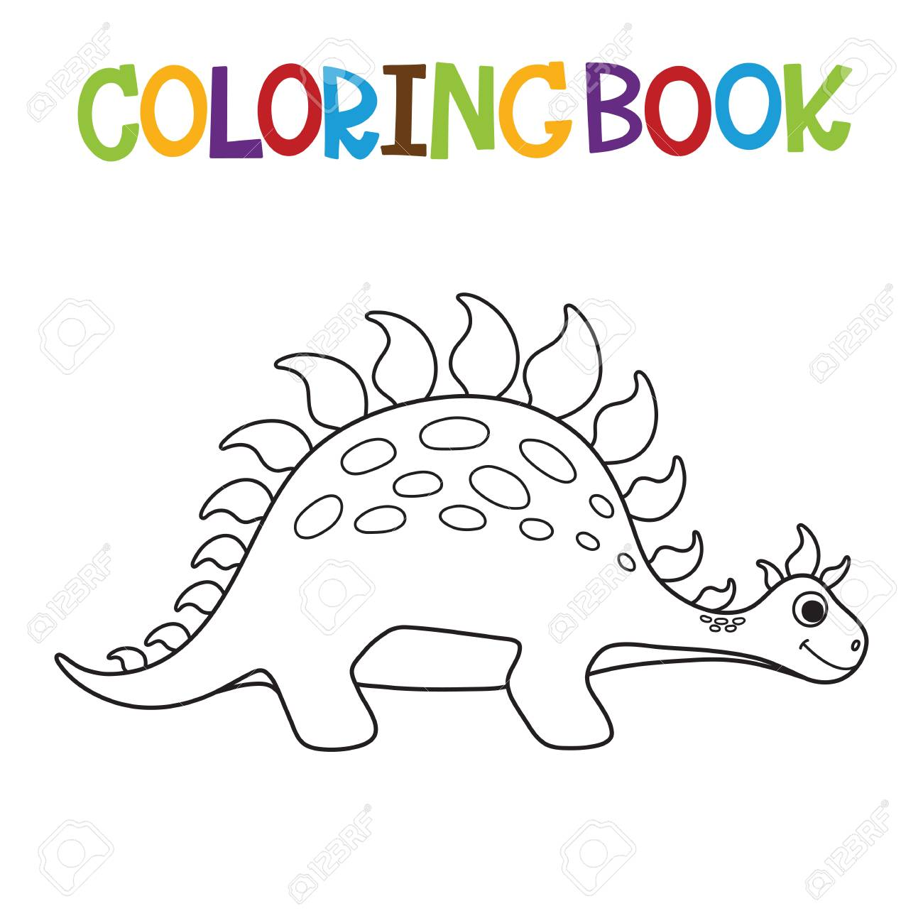 cute dino template design for coloring book vector illustration