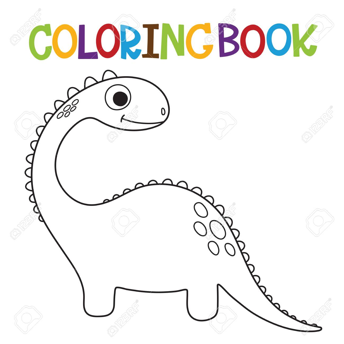 Cute Dinosaur Coloring Book Vector Illustration Royalty Free