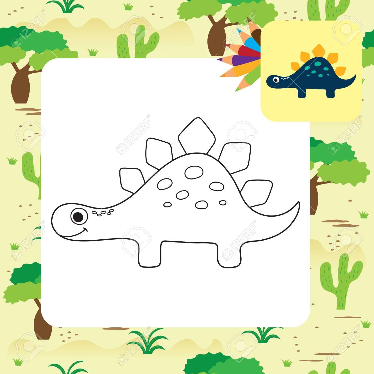Cute Cartoon Dinosaur Coloring Page Vector Illustration Royalty