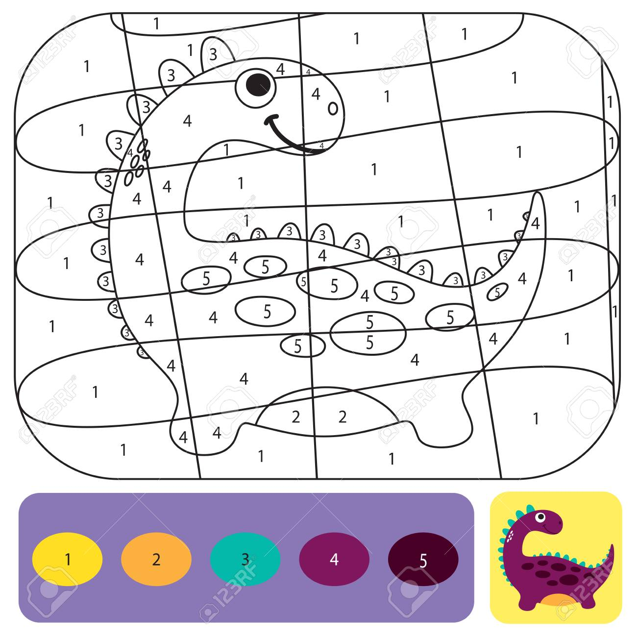Cute dino coloring page for kids. Printable design coloring book...