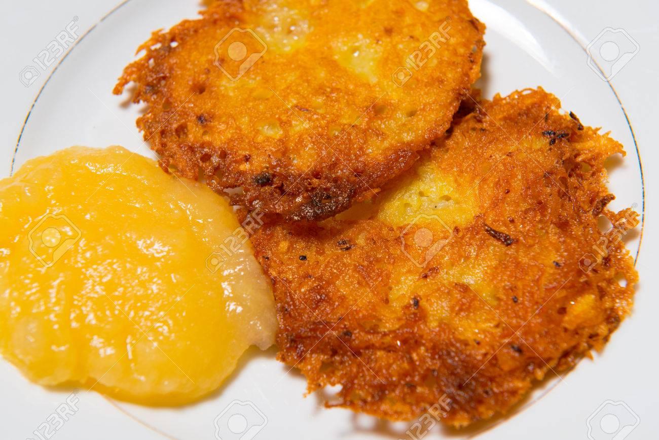 Potato Pancakes With Applesauce Stock Photo Potato Pancake