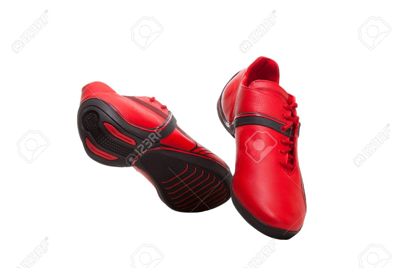 Red and black sport shoes isolated on white Stock Photo - 9378595