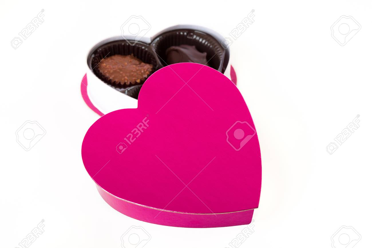 Pink Valentine s Day Heart with Chocolates Stock Photo - 17614310