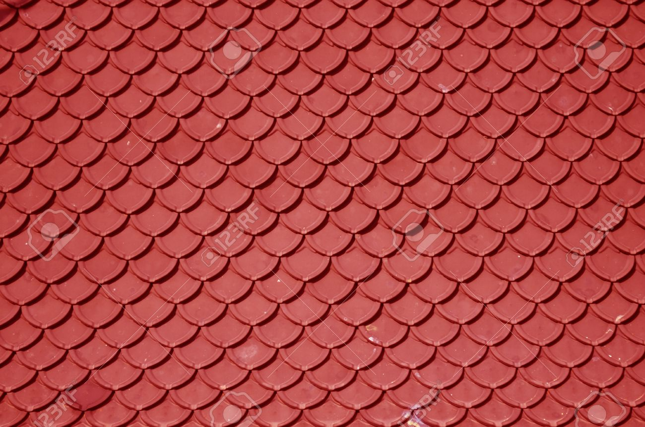 Close Up Of Red Roof Texture Tile Stock Photo   19498896