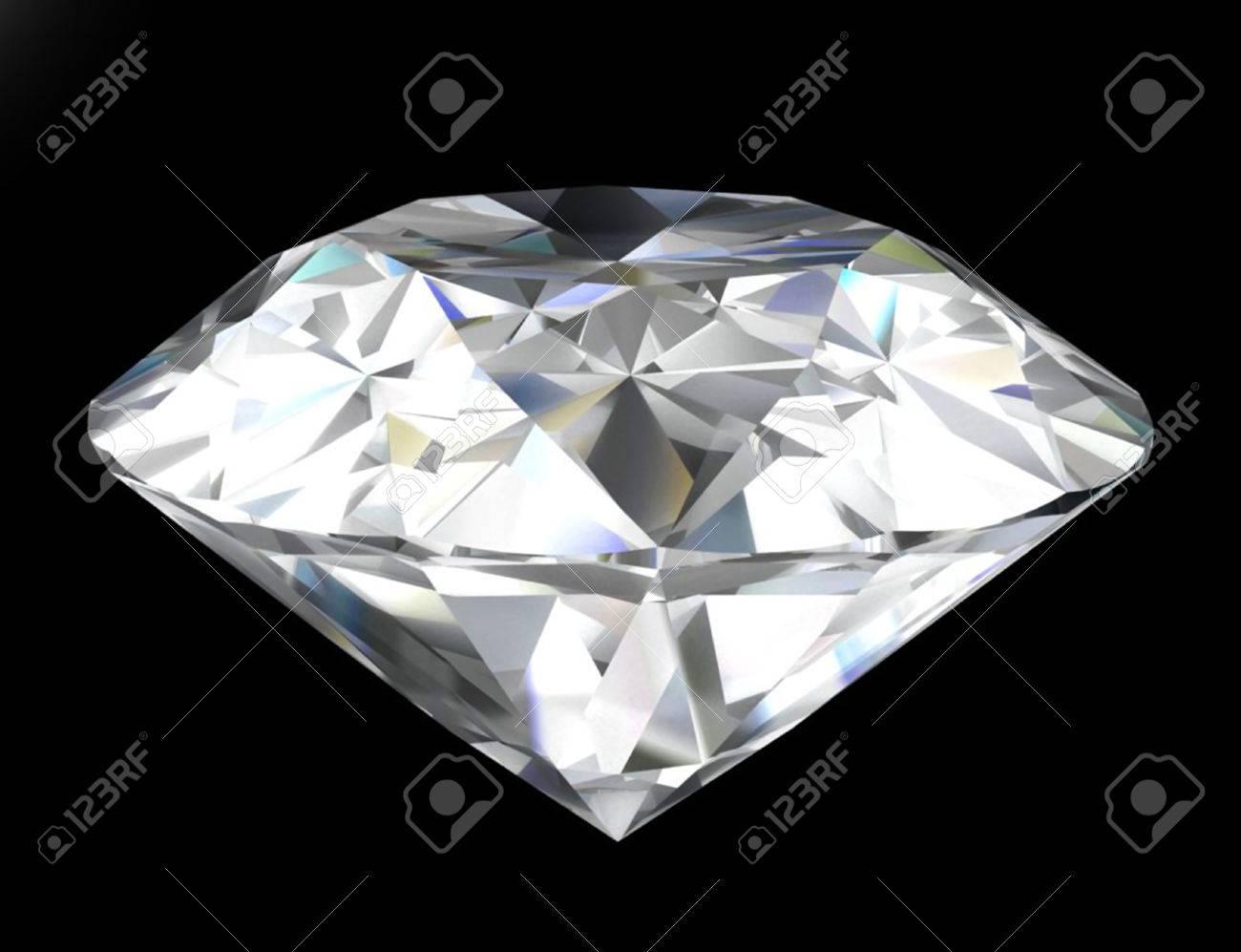 Shiny diamond isolated on black . Stock Photo - 23325495