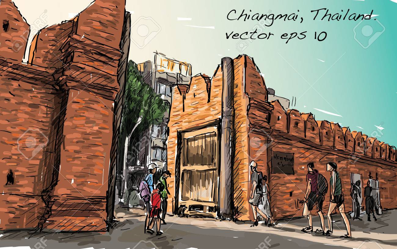 sketch of cityscape show aisa heritage Tha Phae gaet in Chiangmai Thailand, illustration vector - 74139243