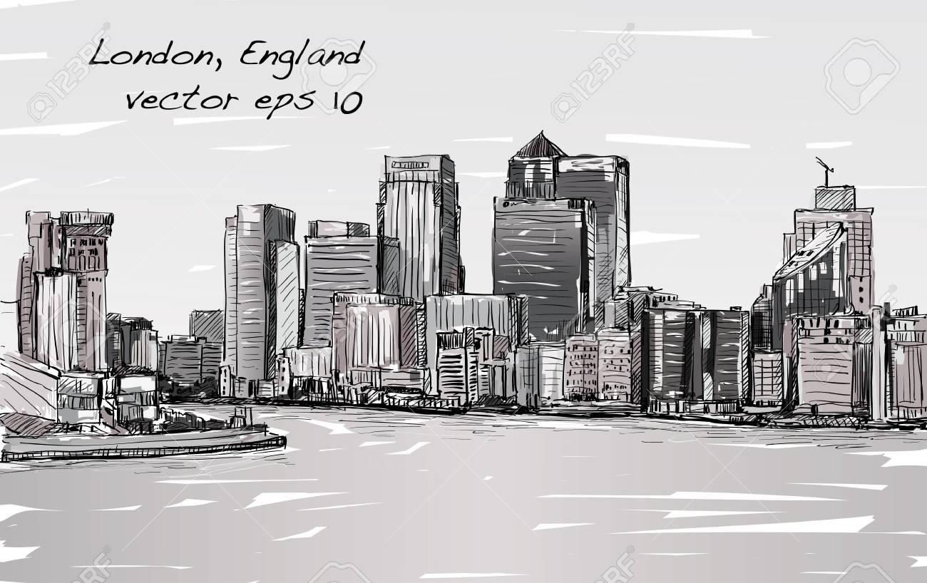 イギリスのロンドンの町並みをスケッチしテムズ川イラスト ベクトル