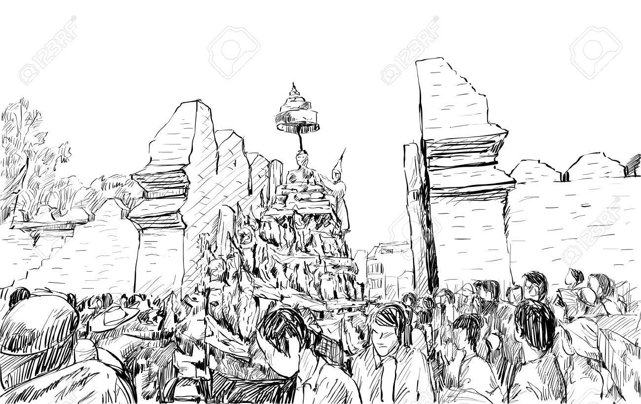 Vector sketch of cityscape in thailand show traditional parade songkran festival at old wall illustration vector