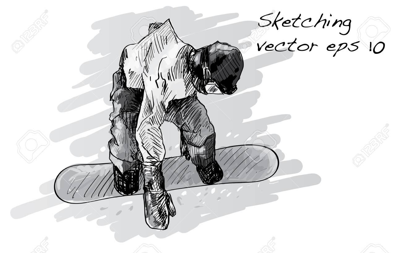 0c9f26df07f6 Sketch Of Snow Board Man Riding