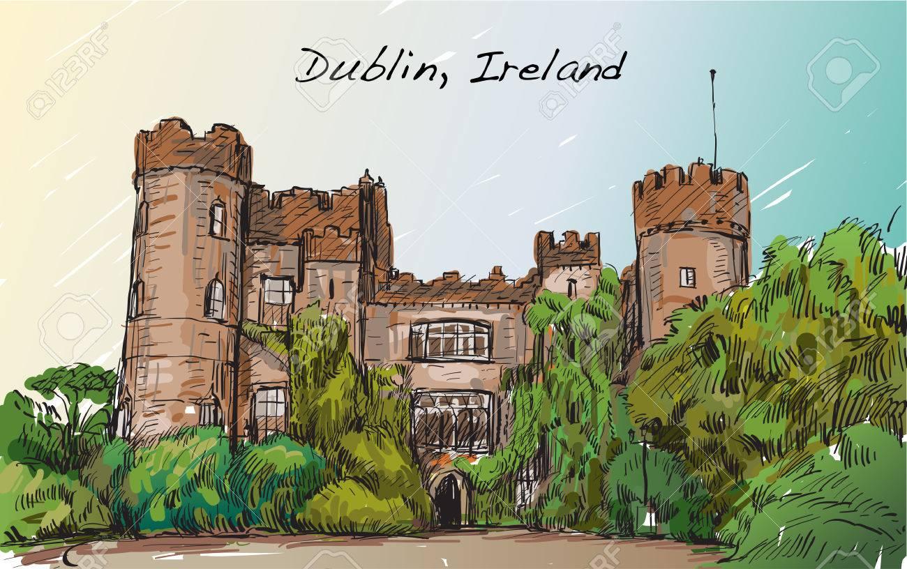 ダブリン市アイルランドマラハイド城フリーハンドのスケッチ風景