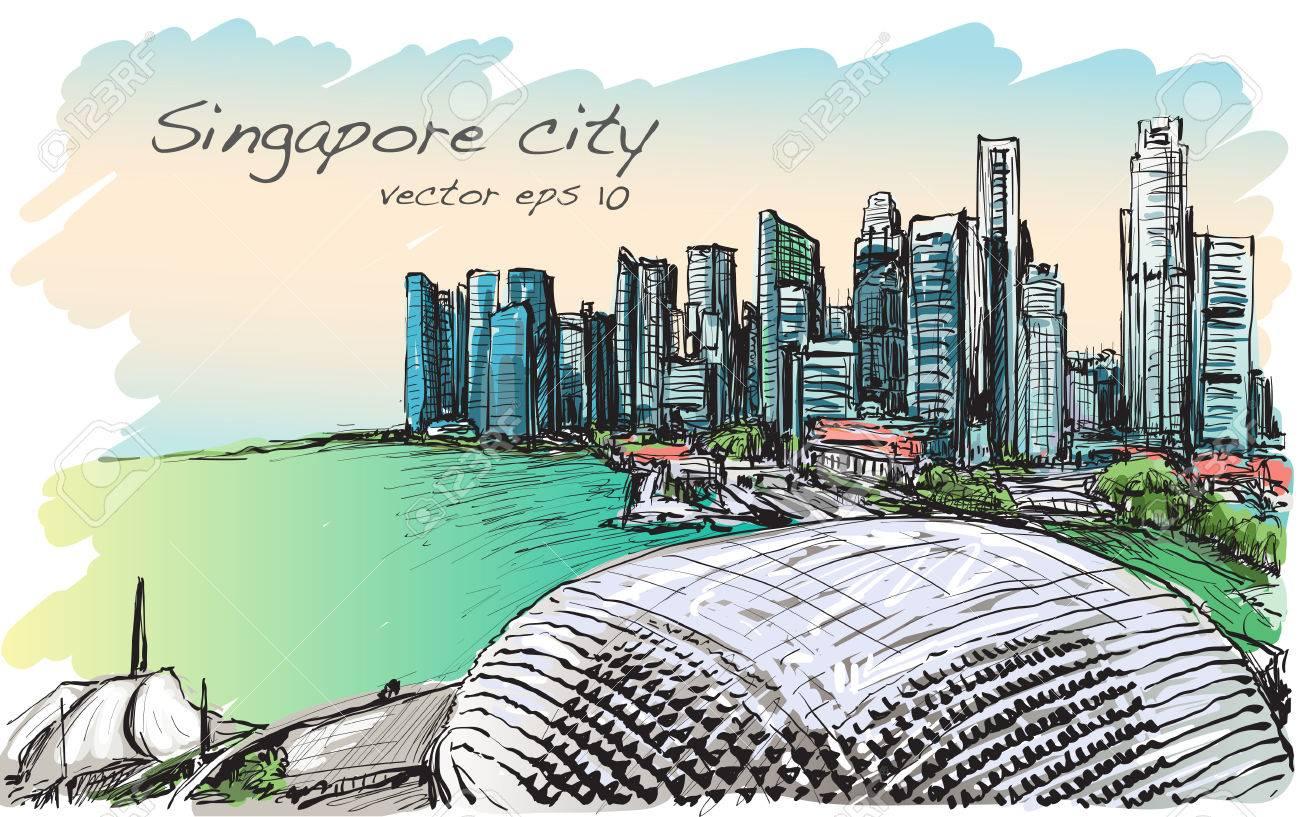 シンガポールのスカイラインフリーハンド描画イラストの町並みを