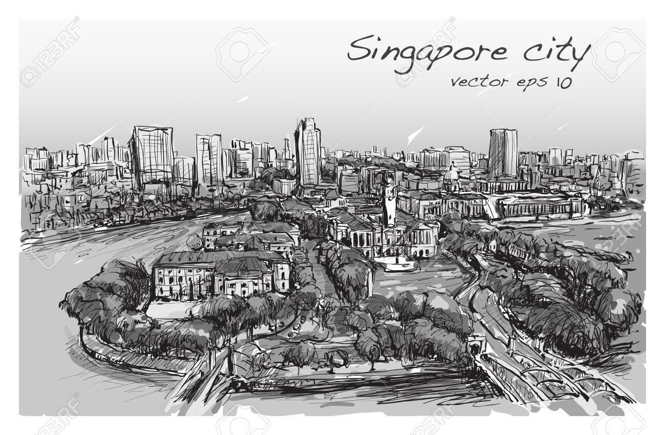 シンガポールの建物のスカイラインフリーハンド描画イラストの町並みを