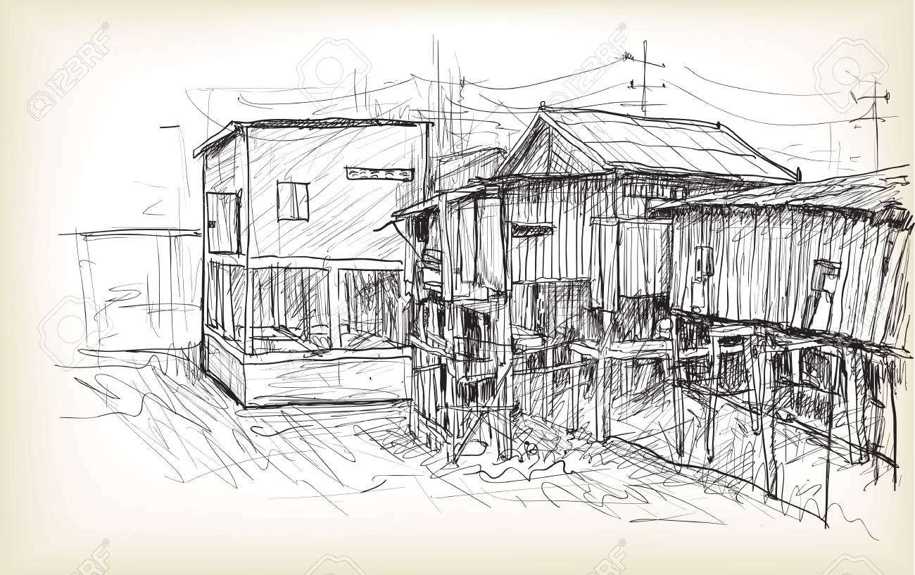 Sketch Of Townscape In Phnom Penh Slum Wood House Free Hand