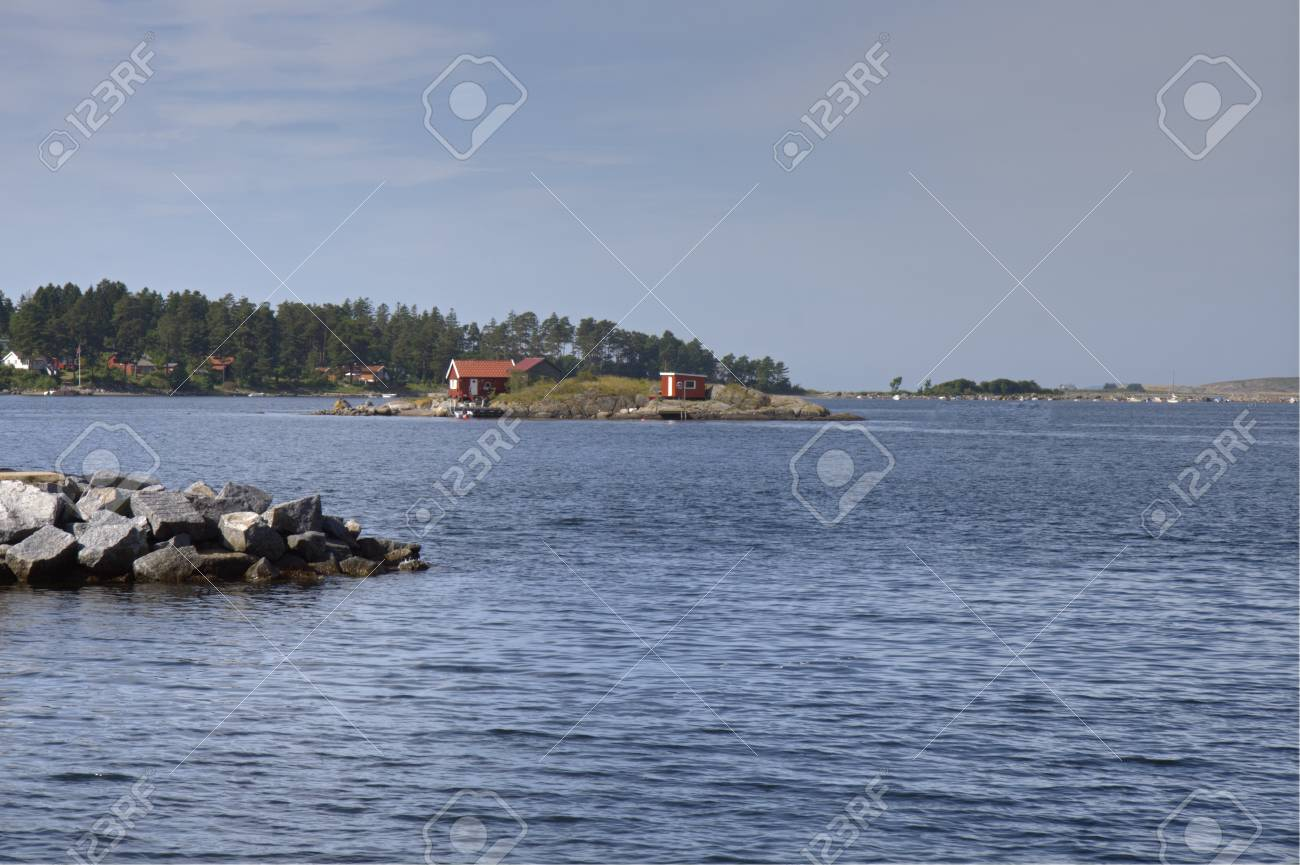 Holiday Home On A Small Island Near Larvik, Norway Copy Space ...