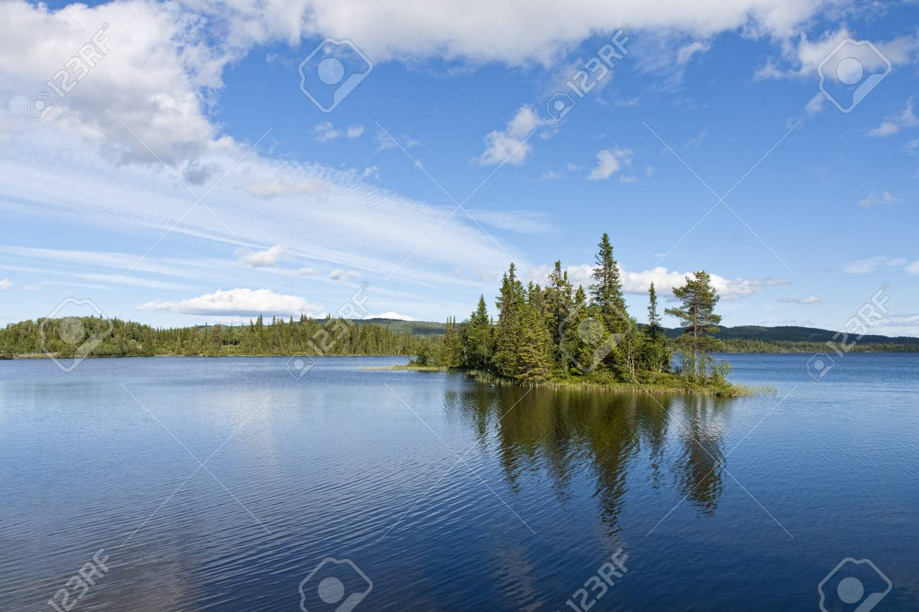 Small Island In A Mountain Lake At Hemsedalen, Norway. Copy Space ...